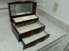 Wood_Walnut_Finish_Jewelry/Organizer_Box #KingWoodCompanyLimited