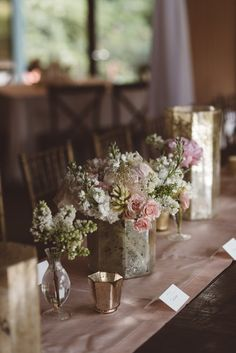 Vintage Floral Centerpieces + Gold Mercury Glass | Vintage Southern Wedding at Magnolia Plantation Carriage House by Charleston Wedding Planner ELM Events