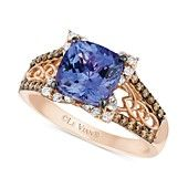 Le+Vian+14k+Rose+Gold+Ring,+Tanzanite+(2+ct.+t.w.)+and+Diamond+(3/8+ct.+t.w.)+Ring