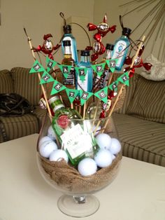 Man bouquet! Love this is idea minus the liquor and put some tees and a gift certificate
