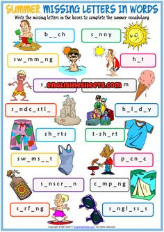 Summer Missing Letters In Words ESL Exercise Handout
