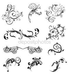 Set different ornamental and floral elements. Vector illustration