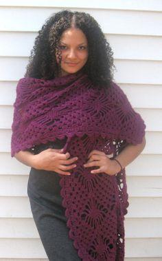 Crocheted  spider stitch Wrap/shawl by reneeoriginals1 on Etsy, $80.00
