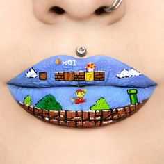"Jazmina Daniel (@missjazminad) on Instagram: ""Part of my 90's lip art series. Super Mario Bros.  Products: @colourpopcosmetics 'And Chill &…"""