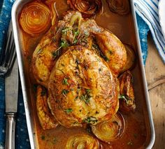 Lemon roast chicken with chorizo stuffing The Spanish-style stuffing in this roast chicken dish is packed with flavour and even more so if you make it ahead of time Chicken Recipes Bbc, Bbc Good Food Recipes, Dinner Recipes, Cooking Recipes, Turkey Recipes, Holiday Recipes, Chorizo Stuffing Recipe, Stuffing Recipes, Chorizo Recipes