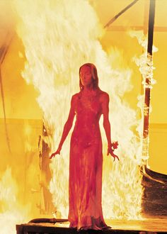"Sissy Spacek as Carrie White in ""Carrie"" (Brian De Palma, 1976)...her eyes amidst all that blood was frightening!"