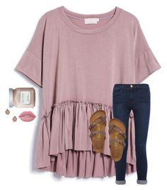 A fashion look from August 2016 featuring crew-neck shirts, high rise jeans and flat sandals. Browse and shop related looks. Simple Outfits For School, Middle School Outfits, Cute Comfy Outfits, Cute Outfits For School, Cute Casual Outfits For Teens, Teenage Girl Outfits, Teen Fashion Outfits, Teenager Outfits, Preppy Outfits