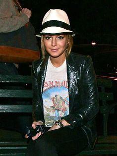 Lindsay Lohan Leather Jacket December 2017