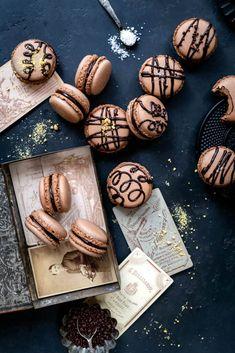Chocolate Macarons Recipe - Supergolden Bakes Chocolate Sprinkles, Chocolate Ganache, Best Chocolate, Delicious Chocolate, Liquid Food Coloring, How To Make Macarons, Macaron Recipe, Baileys, Food To Make