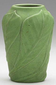 Van Briggle Pottery; Vase, Chestnut Leaves, Matte Green Glaze