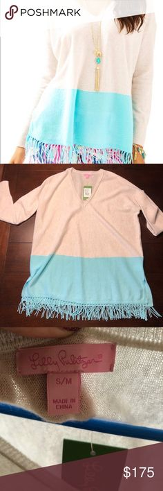 NWT Lilly Pulitzer Alessandra cashmere tunic Classic cashmere, reinvented. Loose fitting and comfy with a modern touch of tassels at the hem. Lilly Pulitzer Tops