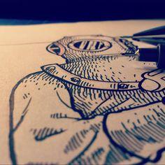 AT WORK #illustration #art #graphicart #graphicdesign #retro #retrodesign #retrographic #design #italy #italydesign #gaeimago #inking