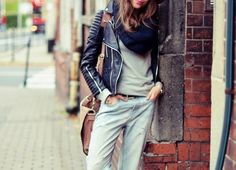 Leather jackets + slouchy denim.