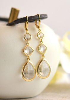 Long Jewel Earrings in Clear Crystals.  Bridesmaids Earrings. Dangle Earrings.  Bridal Jewelry. Modern Fashion Earrings. Wedding. Gift.