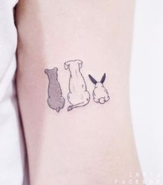 Cute Dogs & Rabbit Tattoo