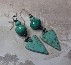 Items similar to Earthy Green Earrings - Bohemian Blue Earrings - Rustic Ceramic Czech Glass Annealed Steal, Artisan Earrings - Handmade Jewelry Salakaappi on Etsy Green Earrings, Drop Earrings, Earthy, Earrings Handmade, My Etsy Shop, Bohemian, Pottery, Jewellery, Trending Outfits
