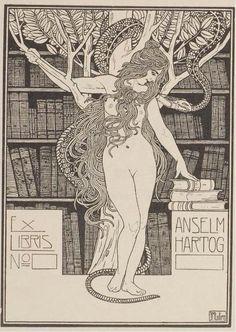 Ephraim Moses Lilien - Ex Libris Anselm Hartog, 1906
