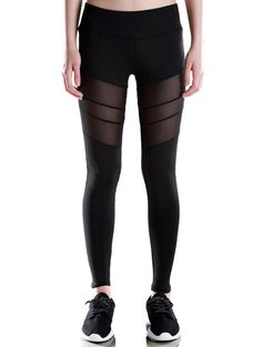 Voile Patched Stretchy Sport Leggings - BLACK S