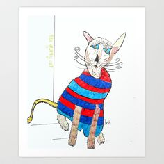 the quirky cats .pierre Art Print by bri.buckley - $23.00
