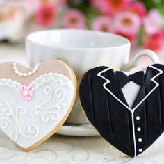 Wedding dress & tux hearts