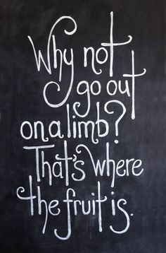 Go out on a limb - that's where the fruit is