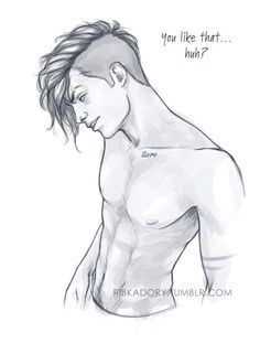 i'm having hard times making myself draw, so the best way to stop that is to draw Kai, obviously :3 he probably caught Val staring and admiring his body