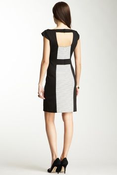 {Contrast Fitted Dress} Vince Camuto - blocked stripes - great back accent!