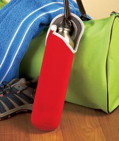 Carry refreshment with you easily and in style with a Neoprene Water Bottle Tote. The convenient sleeve holds a bottle of water or other beverage and keeps it cool for as long as four hours. The snap-closure handle is also a loop that attaches to a b