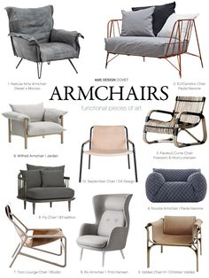 1. Nebula Nine Armchair | Diesel & Moroso 2. EU/Canistro Armchair | Paola Navone | The Conran Shop 3. Fauteuil Curve Chair | Foersom & Hiort-Lorenzen | Design Ikonik 4. Nuvola Armchair | Paola Navone | Gervasoni 5. Valdes Chiar H | Christian Valdes | Matter Matters 6. Ro Arm Chair | Jaime Hayon | Fritz Hansen 7. Toro Lounge Chair | Bludot 8. Fly Chair |  9. Wilfred Arm Chair | Jardan 10. September Chair | OX Design