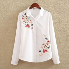 nvyou gou 2018 Floral Embroidered Blouse Shirt Women Slim White Tops Long Sleeve Blouses Woman Office Shirts plus size-noashe Plus Size Shirts, Collars For Women, Blouses For Women, Chemises Country, Full Sleeves Design, Textiles Y Moda, The Office Shirts, Mein Style, Pretty Shirts