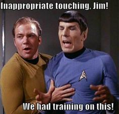 You just know Capt. Kirk wouldn't pay attention during the sexual harassment seminars.