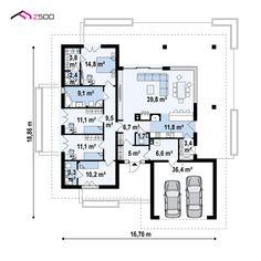 Z378 to wyjątkowy dom z kategorii projekty domów z dachem wielospadowym Home Building Design, Home Design Plans, Building A House, House Plans Mansion, Dream House Plans, 4 Bedroom House Designs, House Outside Design, Concept Home, Design Case