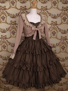 brown short frilled jacket at paddon By Mary Magdalene. Their pieces are so beautiful! Another lovely cardigan, and a beautiful skirt, too. Kawaii Fashion, Lolita Fashion, Cute Fashion, Emo Fashion, Gothic Fashion, Estilo Lolita, Japanese Fashion, Asian Fashion, Pretty Dresses