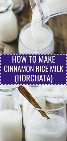 Horchata: cinnamon rice milk - A Mexican creamy rice milk with blended cinnamon, vanilla, and honey that is perfect for a hot, summery day. This is so refreshing to drink when served over ice cubes. Horchata Recipe Rice Milk, Horchata Drink, Homemade Horchata, Rice Water Recipe, Recipes With Rice Milk, Milk Recipes, Homemade Rice Milk Recipe, How To Make Horchata, Best Nutrition Food