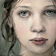 "Original MOONGLANCE PORTRAIT in Oil OOAK 5""x5""x1.5 "" Contemporary Realism   eBay"