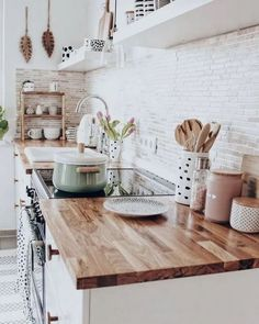 White brick backsplash butcher block counter tops for small modern farmhouse kit. White brick backsplash butcher block counter tops for small modern farmhouse kitchen The decoration of home is much like. Cute Home Decor, Home Decor Kitchen, Design Kitchen, Kitchen Interior, Interior Livingroom, Küchen Design, Home Design, Design Ideas, Design Trends