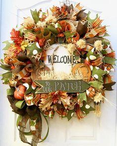 Fall Wreath Fall deco mesh Wreath Pumpkin Wreath Fall