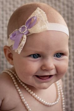 Baby Headband with vintage lace and purple satin by LaCharDesigns, $7.84