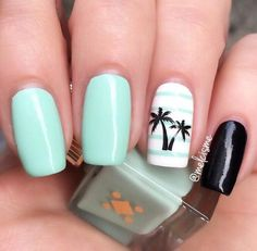 Having short nails is extremely practical. The problem is so many nail art and manicure designs that you'll find online Cute Summer Nail Designs, Cute Summer Nails, Cute Nails, Bright Nails For Summer, Summery Nails, Beach Nail Designs, Simple Nails, Hawaii Nails, Beach Nails