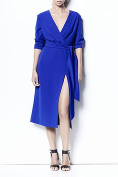 ADELLE   DRESS -  Jewels & Grace  The Adelle wrap features V-neckline, darted sleeve hem and thick sash waist tie. Finished with invisible side zip closure.