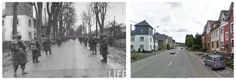 Inverno 1944 truppe USA attraversano Malmedy,( Avenue   Montbijou) direzione Baugnez.
