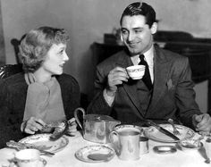 Virginia Cherrill and Cary Grant have breakfast at home