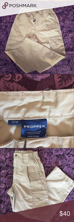 2 Pairs of Men's Tactical Cargo Pants by Propper Size 32/30 Men's Khaki Tactical Cargo Pants.  Pants have been washed but never worn.  Two pair for one low price. Pants