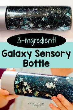 No classroom or home is complete without a calm-down jar, and this is one of the easiest out there! Only three ingredients make up this sensory bottle that is perfect for the space lover, a preschool galaxy theme, or a behavioral tool for anxiety. Space Theme Classroom, Space Theme Preschool, Space Activities For Kids, Outer Space Crafts For Kids, Sensory Bottles Preschool, Sensory Bins, Sensory Activities, Scout Activities, Baby Sensory