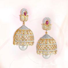 Diamond Jhumka Model from GRT Jewellers