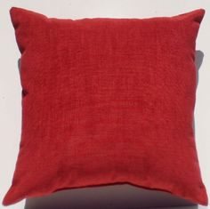 """Crinkle Weave Chenille Deep Cherry Red, 16""""x16"""" Decorative Throw Pillow; Fully Assembled and Stuffed in the U.S.A Mill River Products, llc. http://www.amazon.com/dp/B00G6OEKLO/ref=cm_sw_r_pi_dp_-vs5tb1SNQJJ3"""