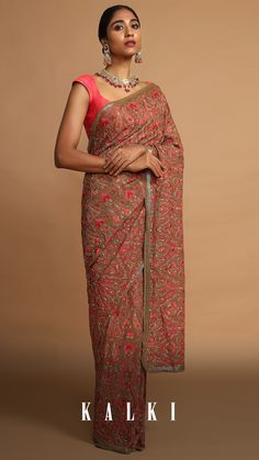 Known to be one of the most ancient and traditional type of intrinsic art, Kashida Embroidery defines its cultural essence through the medium of bead and threadwork. The purest essence and forms of nature like birds, leaves, trees and many such natural motifs are replicated in this embroidery with multi colored threads and beads woven into the sarees. Kashida Embroidery, Georgette Sarees, Fashion Heels, Bead Weaving, Indian Wear, Designer Dresses, Paisley, Sari, Pure Products