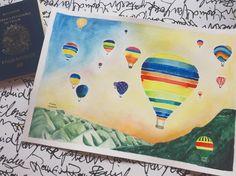 Cappadocia watercolor - balloons - Balões em aquarela - Capadocia