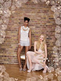 Model 1: Miss Selfridge Grey Embellished Hem Short - Model 2: Miss Selfridge Gold Embellished Maxi Dress