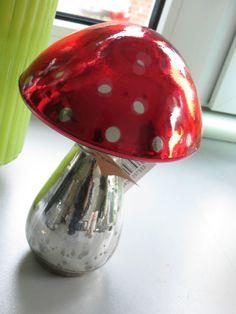 Pilz Fliegenpilz Dots Punkte Bauernsilber Deko Landhaus Dekoration Glas XL | eBay